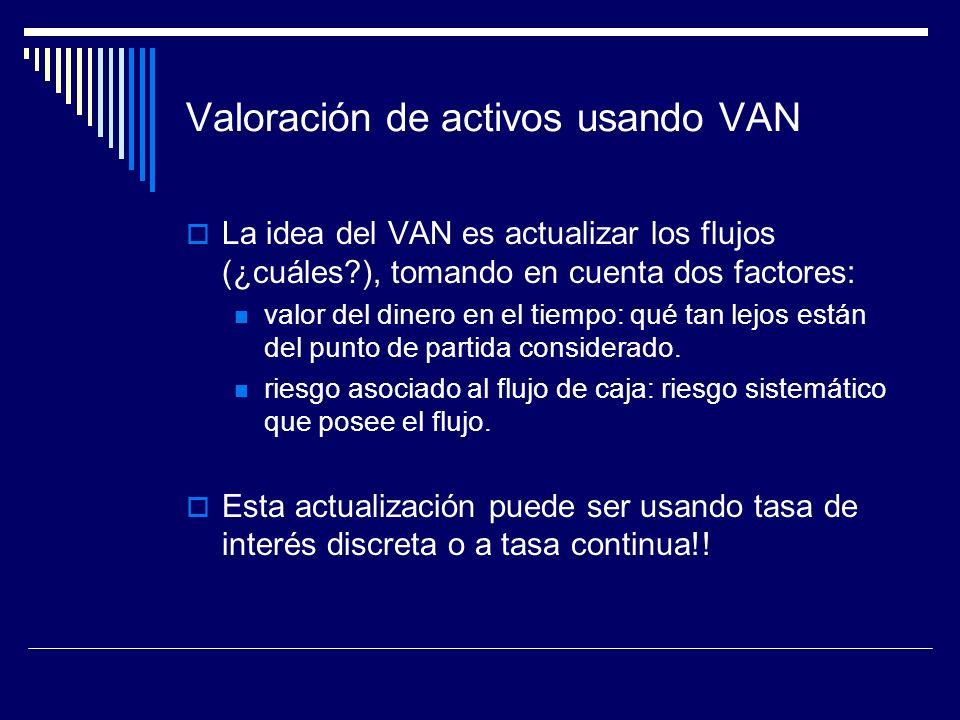 Valoración de activos usando VAN La idea del VAN es actualizar los flujos (¿cuáles?), tomando en cuenta dos factores: valor del dinero en el tiempo: q