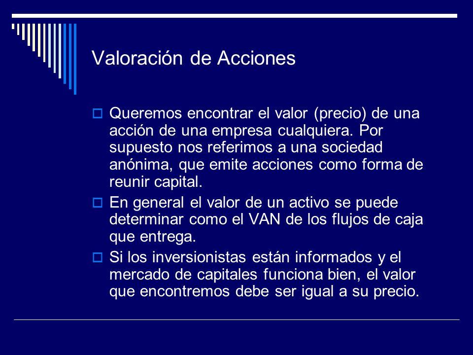 Valoración de Acciones Queremos encontrar el valor (precio) de una acción de una empresa cualquiera. Por supuesto nos referimos a una sociedad anónima