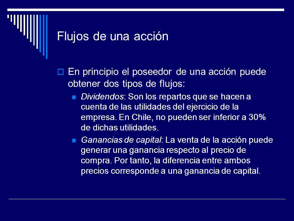 Flujos de una acción En principio el poseedor de una acción puede obtener dos tipos de flujos: Dividendos: Son los repartos que se hacen a cuenta de l