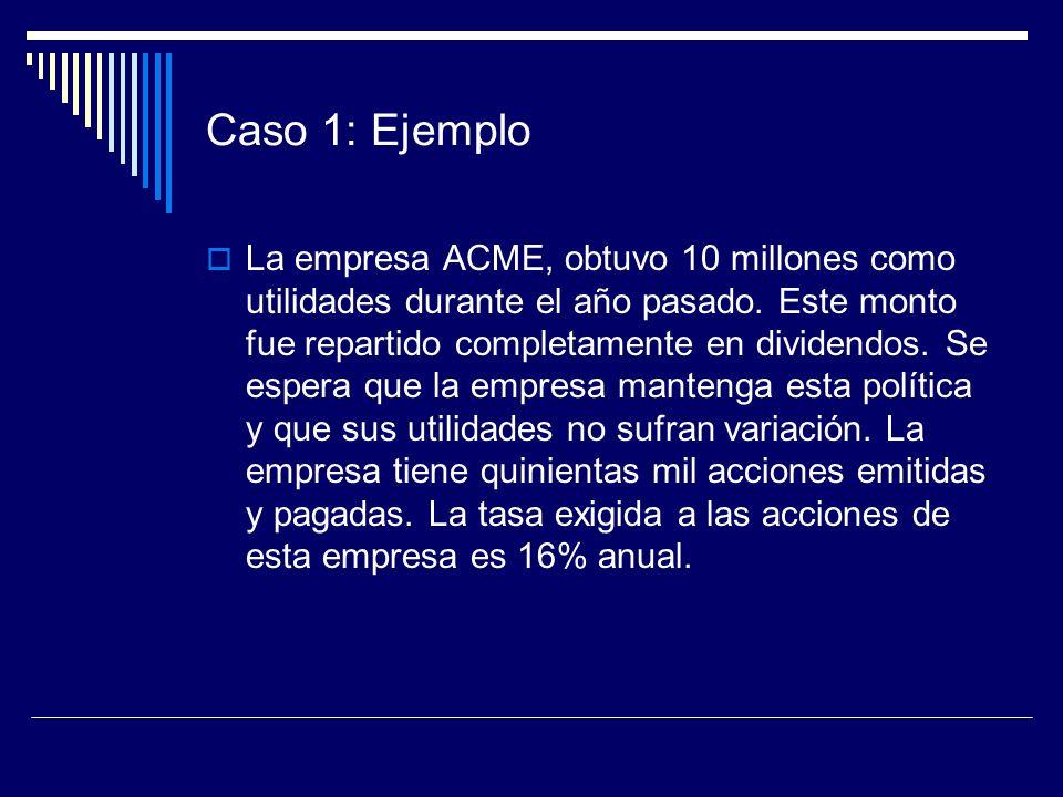 Caso 1: Ejemplo La empresa ACME, obtuvo 10 millones como utilidades durante el año pasado. Este monto fue repartido completamente en dividendos. Se es