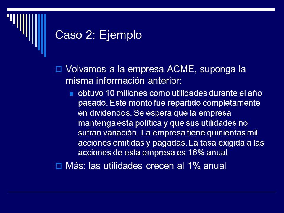 Caso 2: Ejemplo Volvamos a la empresa ACME, suponga la misma información anterior: obtuvo 10 millones como utilidades durante el año pasado. Este mont