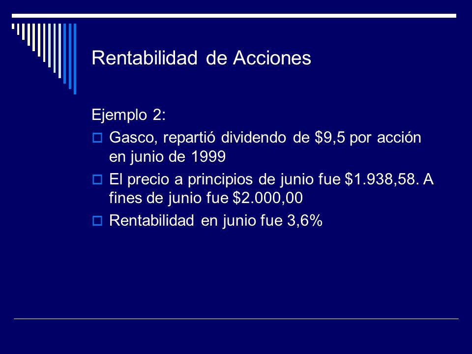 Rentabilidad de Acciones Ejemplo 2: Gasco, repartió dividendo de $9,5 por acción en junio de 1999 El precio a principios de junio fue $1.938,58. A fin