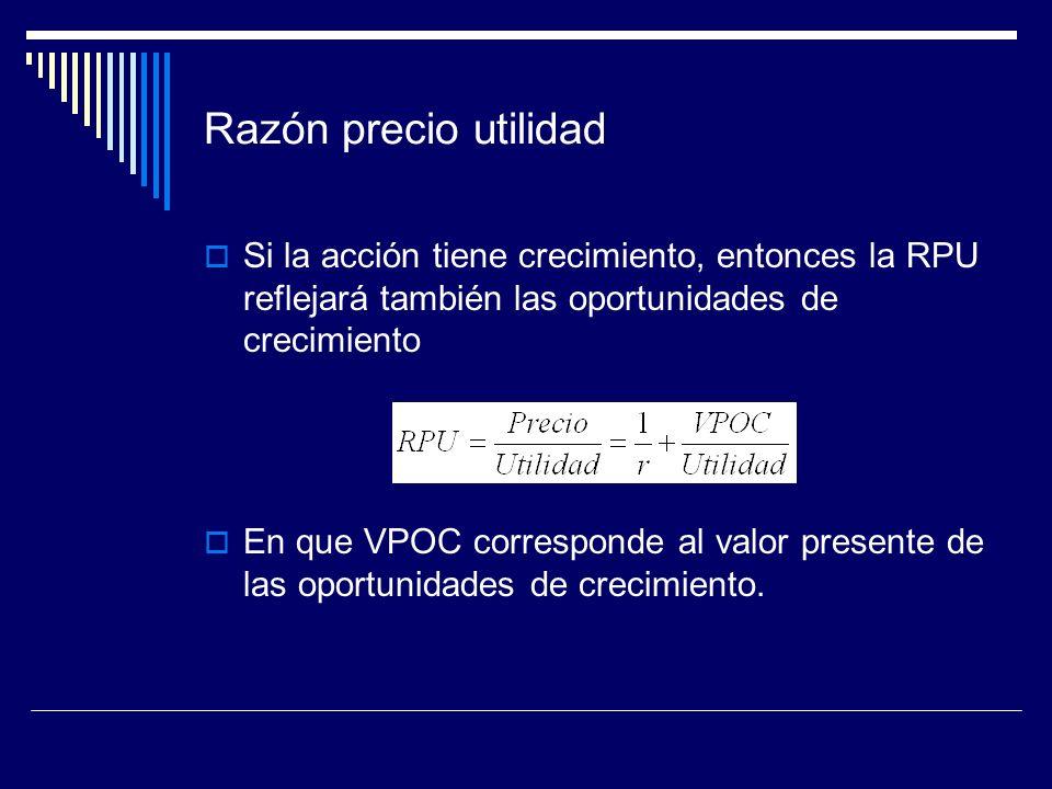 Razón precio utilidad Si la acción tiene crecimiento, entonces la RPU reflejará también las oportunidades de crecimiento En que VPOC corresponde al va
