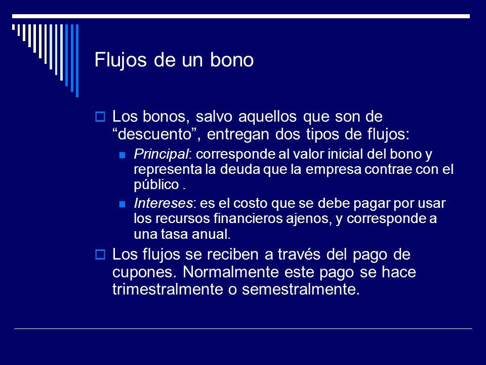 Flujos de un bono Los bonos, salvo aquellos que son de descuento, entregan dos tipos de flujos: Principal: corresponde al valor inicial del bono y rep