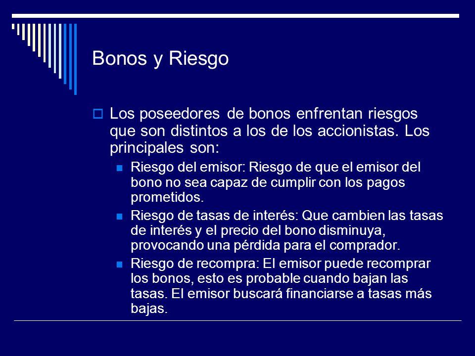 Bonos y Riesgo Los poseedores de bonos enfrentan riesgos que son distintos a los de los accionistas. Los principales son: Riesgo del emisor: Riesgo de