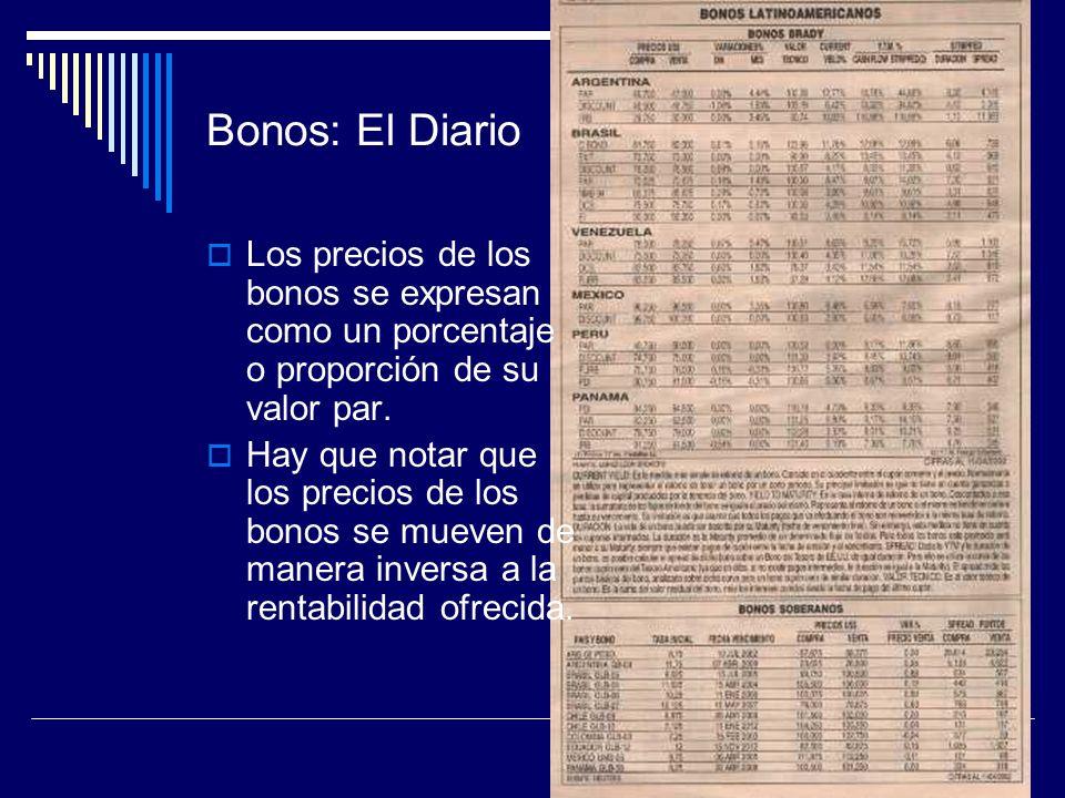 Bonos: El Diario Los precios de los bonos se expresan como un porcentaje o proporción de su valor par. Hay que notar que los precios de los bonos se m