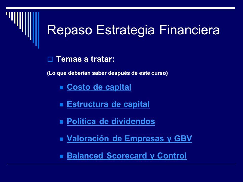 Repaso Estrategia Financiera Temas a tratar: (Lo que deberían saber después de este curso) Costo de capital Estructura de capital Política de dividend