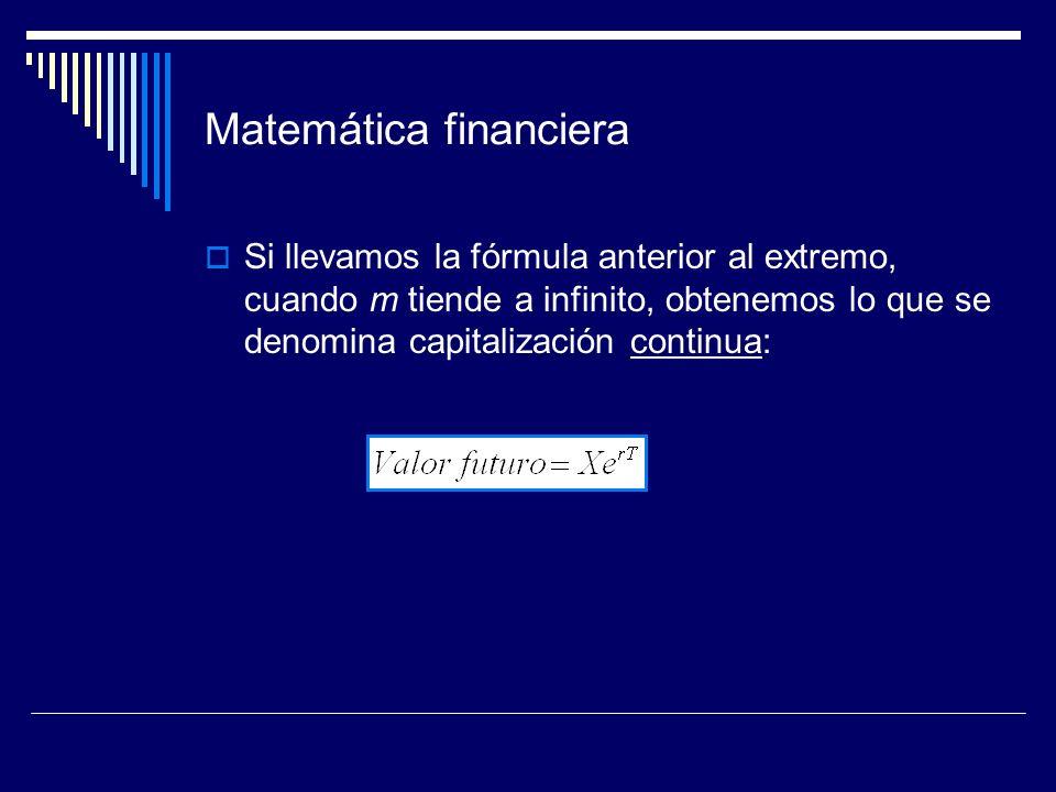 Matemática financiera Si llevamos la fórmula anterior al extremo, cuando m tiende a infinito, obtenemos lo que se denomina capitalización continua: