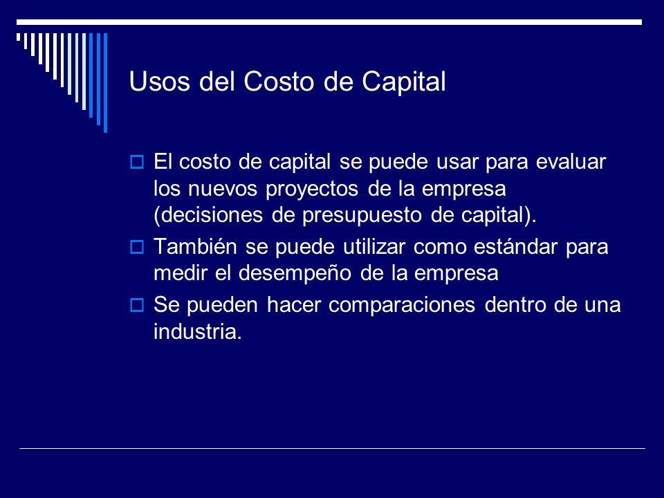 Usos del Costo de Capital El costo de capital se puede usar para evaluar los nuevos proyectos de la empresa (decisiones de presupuesto de capital). Ta