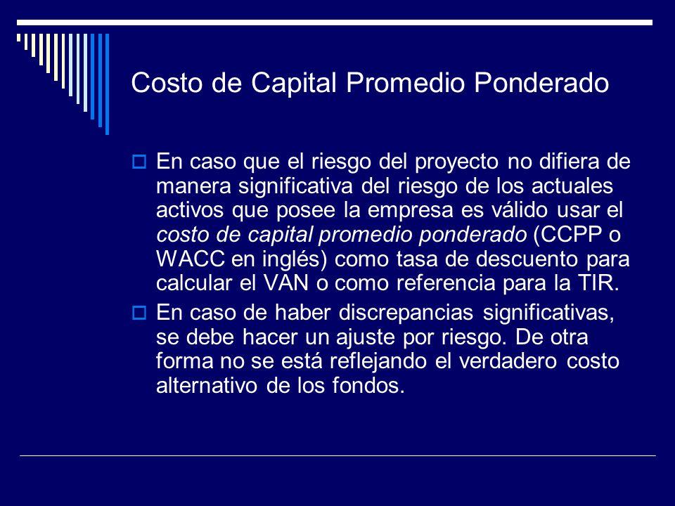 Costo de Capital Promedio Ponderado En caso que el riesgo del proyecto no difiera de manera significativa del riesgo de los actuales activos que posee