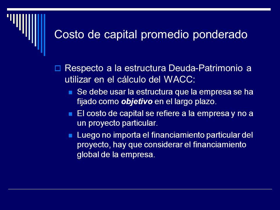 Costo de capital promedio ponderado Respecto a la estructura Deuda-Patrimonio a utilizar en el cálculo del WACC: Se debe usar la estructura que la emp