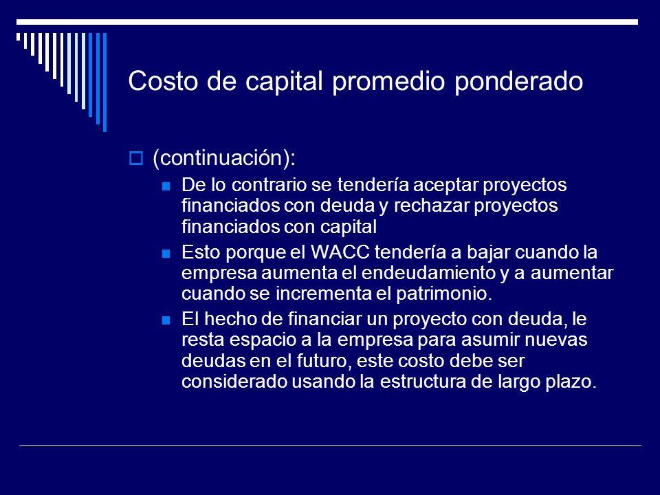 Costo de capital promedio ponderado (continuación): De lo contrario se tendería aceptar proyectos financiados con deuda y rechazar proyectos financiad