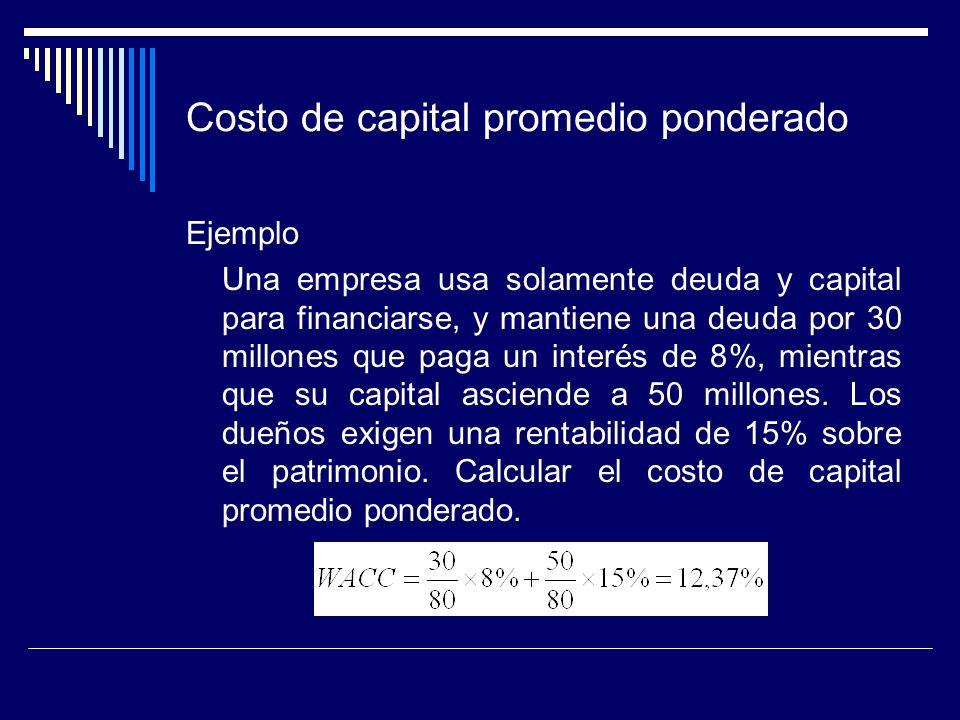 Costo de capital promedio ponderado Ejemplo Una empresa usa solamente deuda y capital para financiarse, y mantiene una deuda por 30 millones que paga
