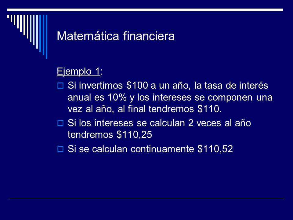 Matemática financiera Ejemplo 1: Si invertimos $100 a un año, la tasa de interés anual es 10% y los intereses se componen una vez al año, al final ten