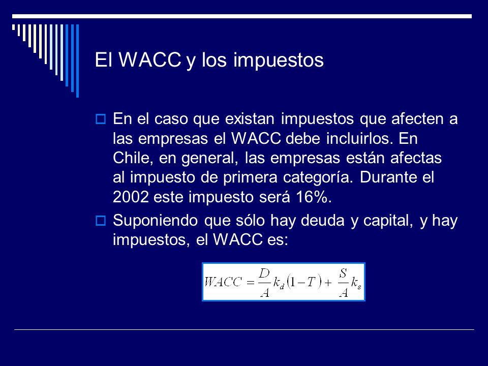 El WACC y los impuestos En el caso que existan impuestos que afecten a las empresas el WACC debe incluirlos. En Chile, en general, las empresas están