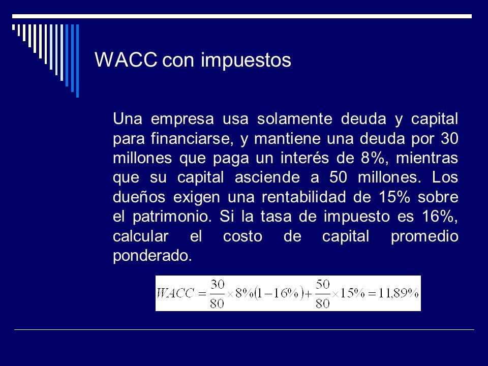 WACC con impuestos Una empresa usa solamente deuda y capital para financiarse, y mantiene una deuda por 30 millones que paga un interés de 8%, mientra