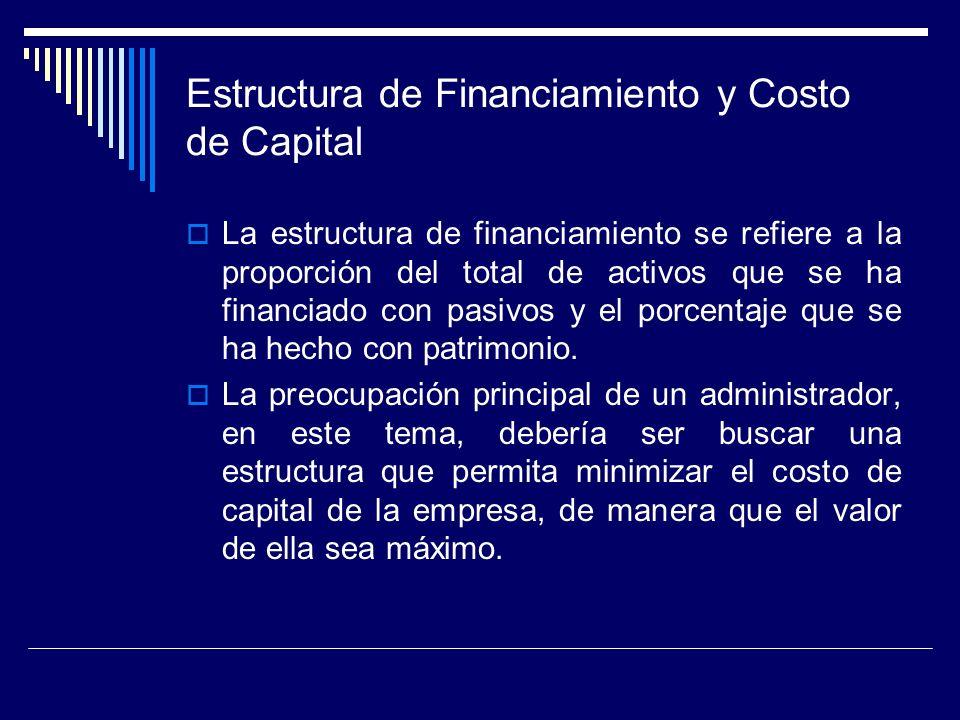 Estructura de Financiamiento y Costo de Capital La estructura de financiamiento se refiere a la proporción del total de activos que se ha financiado c