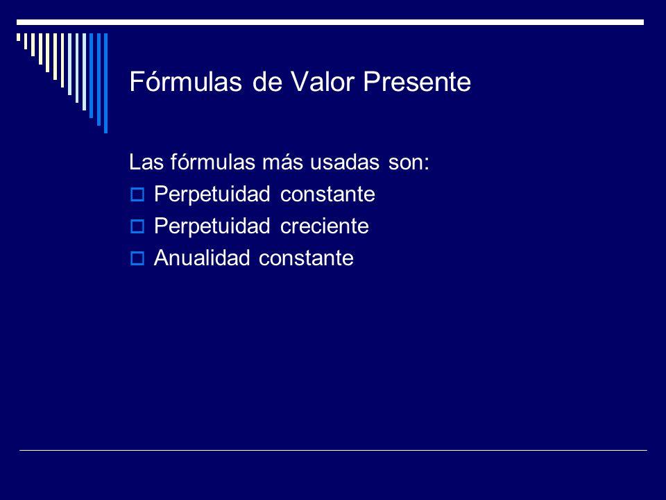 Fórmulas de Valor Presente Las fórmulas más usadas son: Perpetuidad constante Perpetuidad creciente Anualidad constante