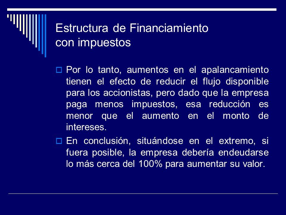 Estructura de Financiamiento con impuestos Por lo tanto, aumentos en el apalancamiento tienen el efecto de reducir el flujo disponible para los accion