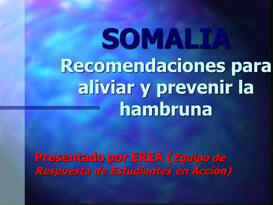 SOMALIA Recomendaciones para aliviar y prevenir la hambruna Presentado por EREA ( Equipo de Respuesta de Estudiantes en Acción)