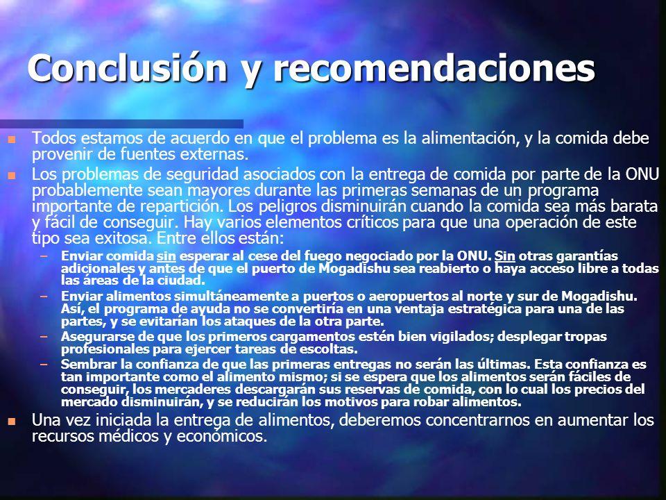 Conclusión y recomendaciones n n Todos estamos de acuerdo en que el problema es la alimentación, y la comida debe provenir de fuentes externas. n n Lo