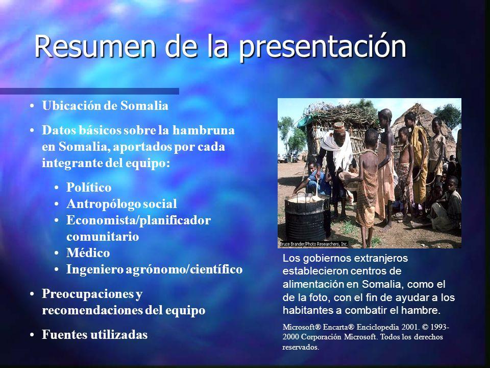 Resumen de la presentación Los gobiernos extranjeros establecieron centros de alimentación en Somalia, como el de la foto, con el fin de ayudar a los