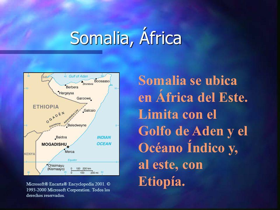 Somalia, África Somalia se ubica en África del Este. Limita con el Golfo de Aden y el Océano Índico y, al este, con Etiopía. Microsoft® Encarta® Encyc