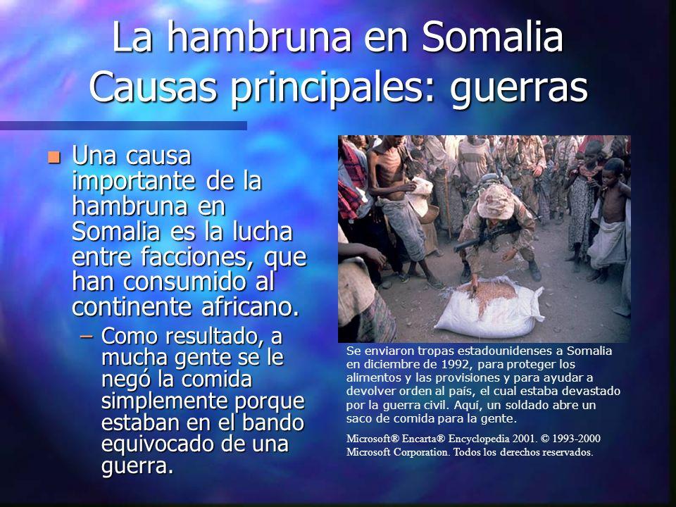 La hambruna en Somalia Causas principales: guerras n Una causa importante de la hambruna en Somalia es la lucha entre facciones, que han consumido al