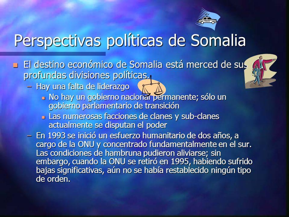 Perspectivas políticas de Somalia n El destino económico de Somalia está merced de sus profundas divisiones políticas. –Hay una falta de liderazgo n N