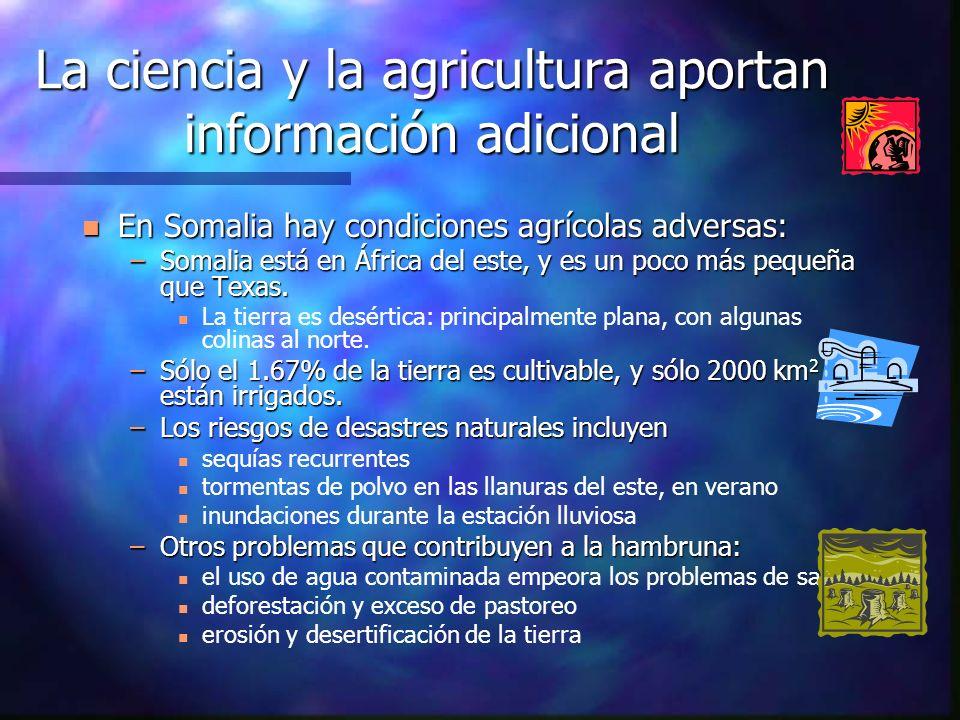 La ciencia y la agricultura aportan información adicional n En Somalia hay condiciones agrícolas adversas: –Somalia está en África del este, y es un p