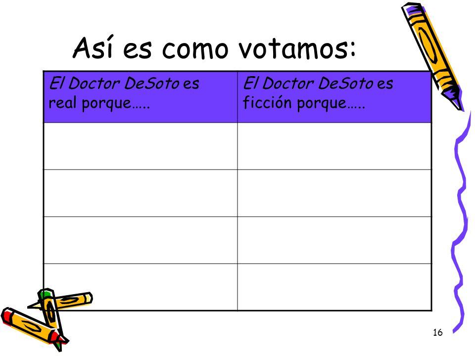 16 Así es como votamos: El Doctor DeSoto es real porque….. El Doctor DeSoto es ficción porque…..