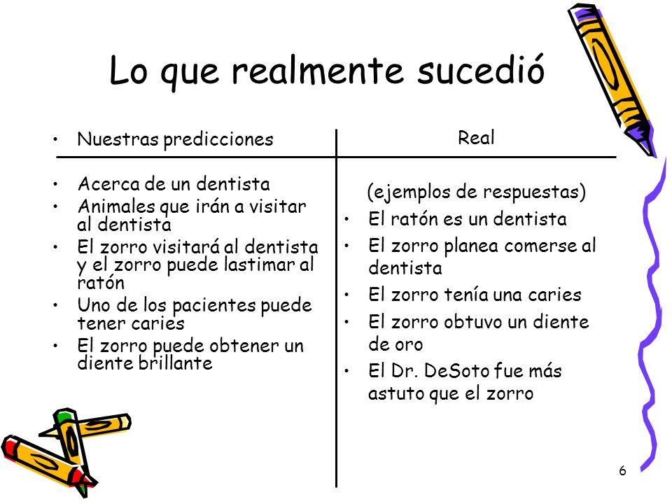 6 Lo que realmente sucedió Real (ejemplos de respuestas) El ratón es un dentista El zorro planea comerse al dentista El zorro tenía una caries El zorr