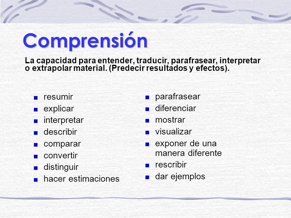 Comprensión La capacidad para entender, traducir, parafrasear, interpretar o extrapolar material. (Predecir resultados y efectos). parafrasear diferen