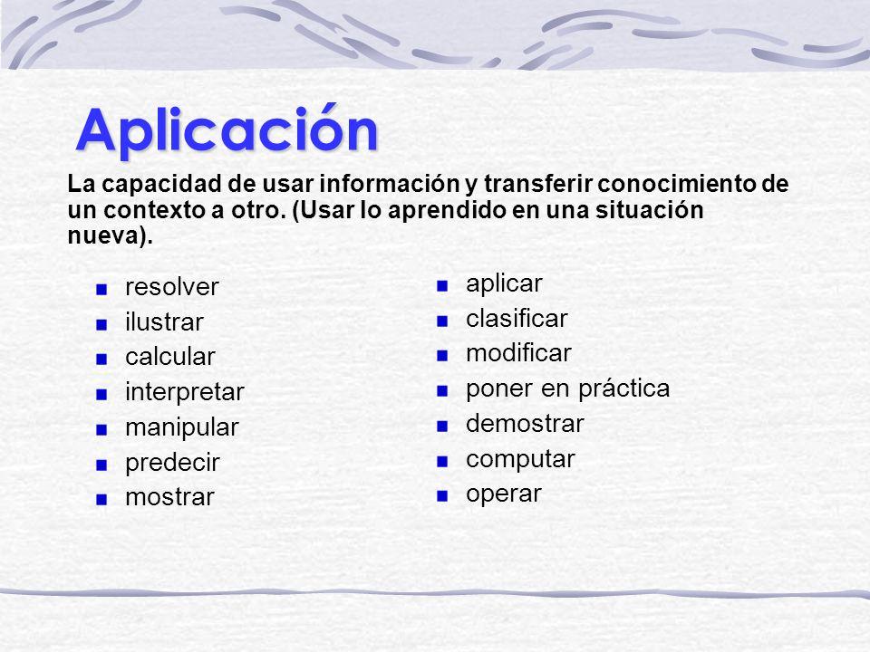 Aplicación La capacidad de usar información y transferir conocimiento de un contexto a otro. (Usar lo aprendido en una situación nueva). aplicar clasi