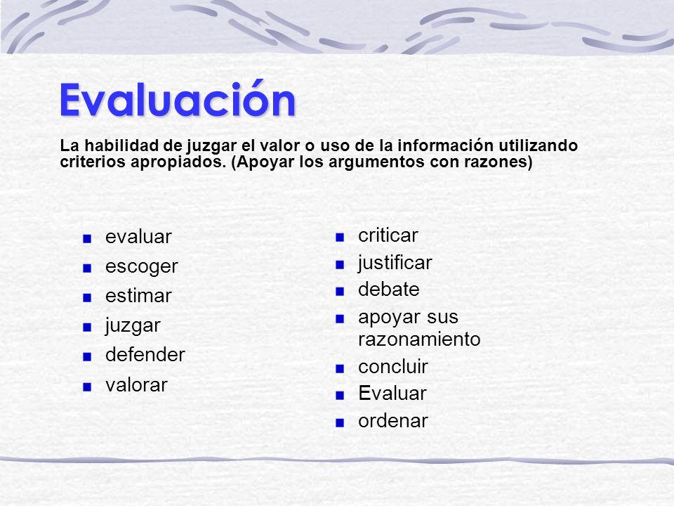 Evaluación La habilidad de juzgar el valor o uso de la información utilizando criterios apropiados. (Apoyar los argumentos con razones) criticar justi
