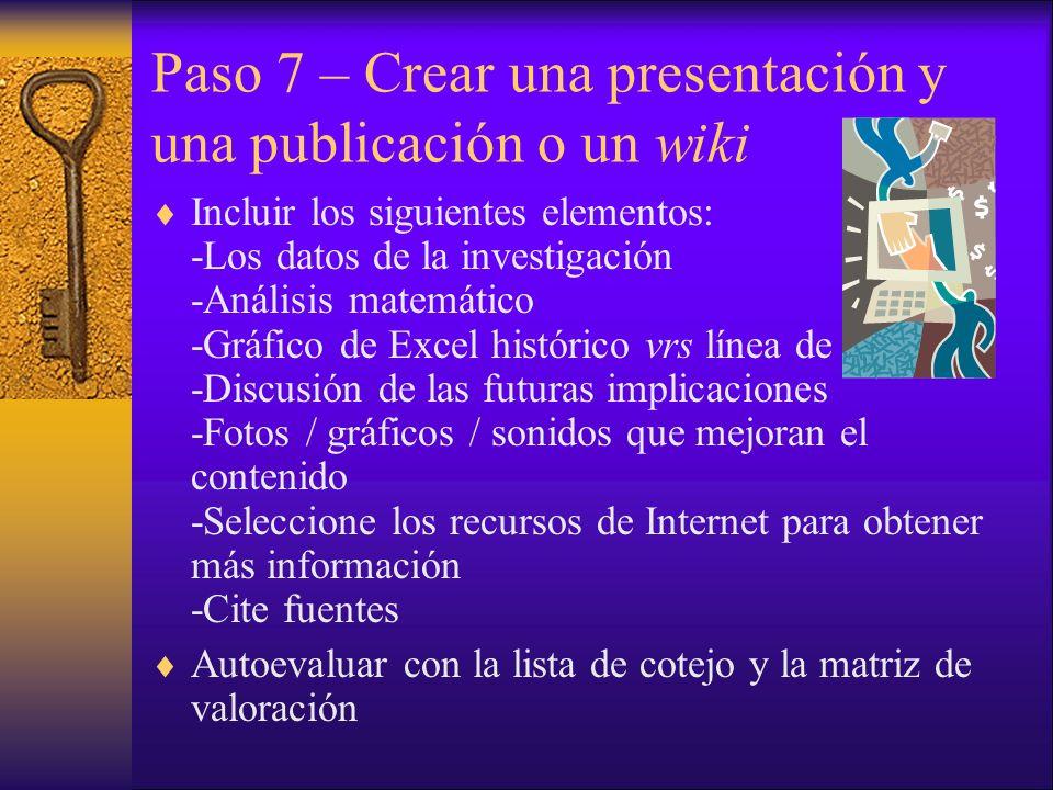 Paso 7 – Crear una presentación y una publicación o un wiki Incluir los siguientes elementos: -Los datos de la investigación -Análisis matemático -Gráfico de Excel histórico vrs línea de regresión -Discusión de las futuras implicaciones -Fotos / gráficos / sonidos que mejoran el contenido -Seleccione los recursos de Internet para obtener más información -Cite fuentes Autoevaluar con la lista de cotejo y la matriz de valoración