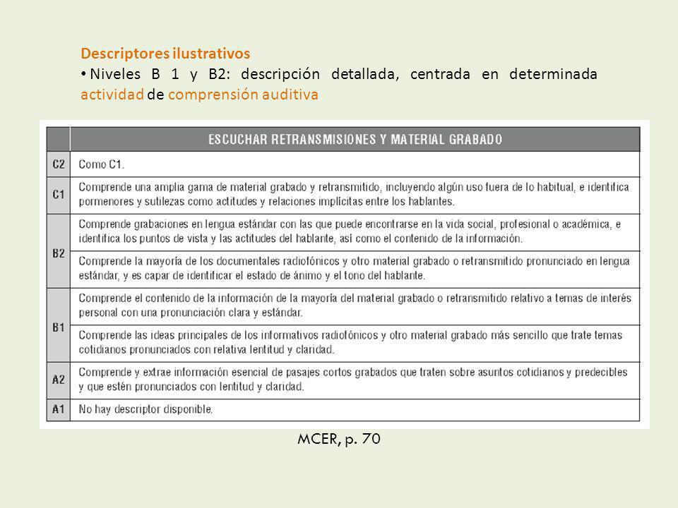 MCER, p. 70 Descriptores ilustrativos Niveles B 1 y B2: descripción detallada, centrada en determinada actividad de comprensión auditiva