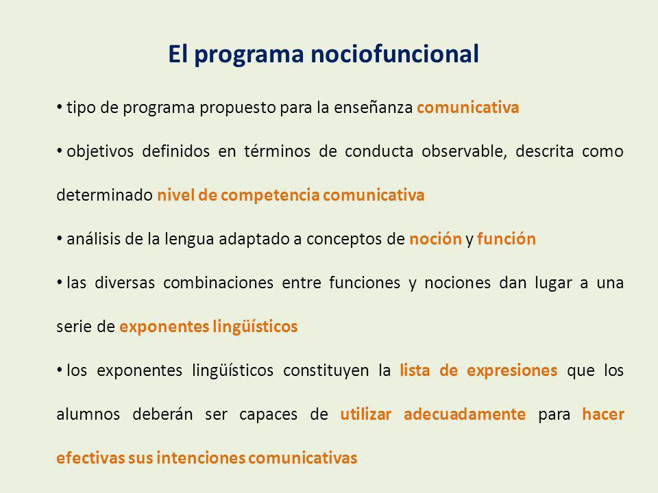 propuesta de un programa de aprendizaje de la lengua sus unidades consisten en actividades de uso de la lengua distinción entre los contenidos necesarios para la comunicación y los procesos de comunicación unidad fundamental: la tarea El enfoque por tareas