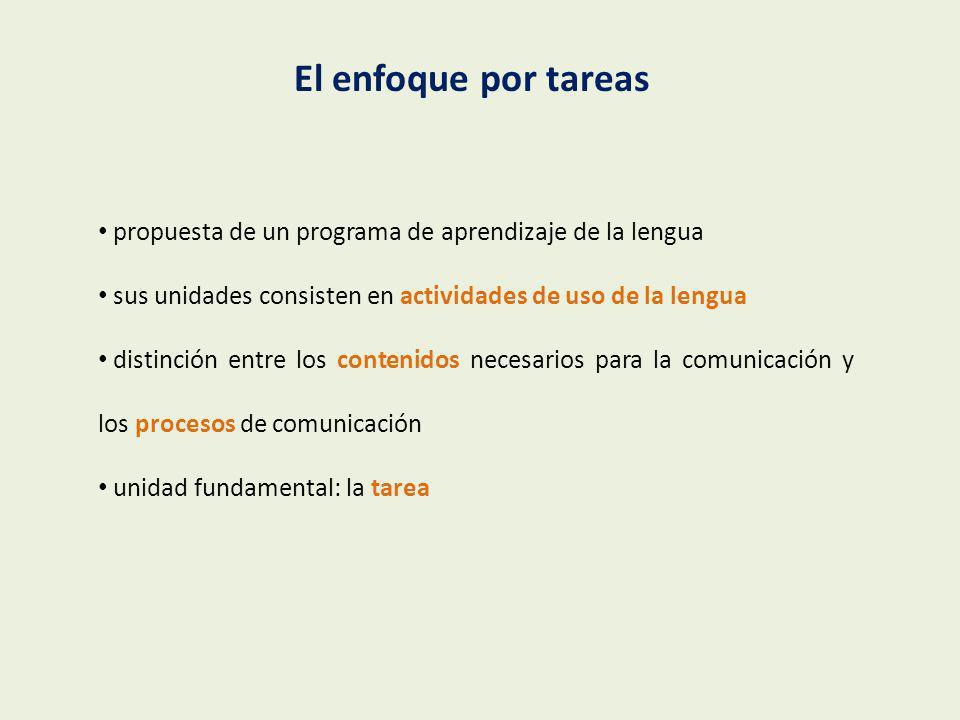 1 Análisis de necesidades e intereses: elección de un tema 2 Elección de la(s) tarea(s) final(es) 3 Especificación de objetivos por destrezas 4 Determinación de los contenidos lingüísticos 5 Planificación de tareas (comunicativas y posibilitadoras) 6 Evaluación Diseño de una tarea: