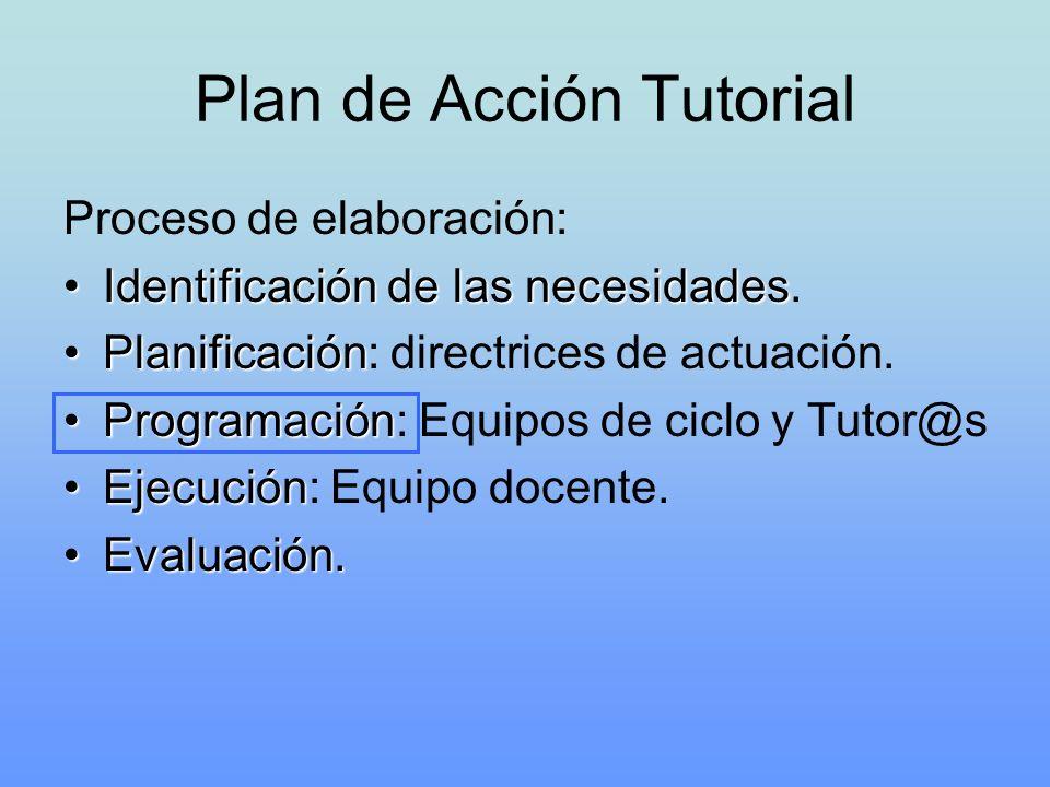 Plan de Acción Tutorial Proceso de elaboración: Identificación de las necesidadesIdentificación de las necesidades. PlanificaciónPlanificación: direct