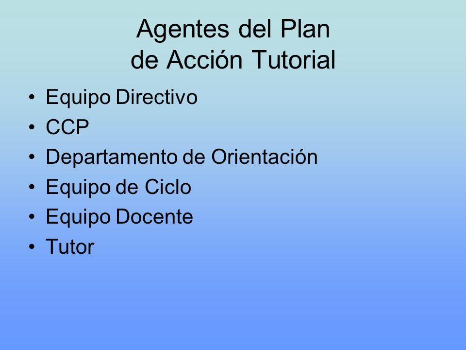 Agentes del Plan de Acción Tutorial Equipo Directivo CCP Departamento de Orientación Equipo de Ciclo Equipo Docente Tutor