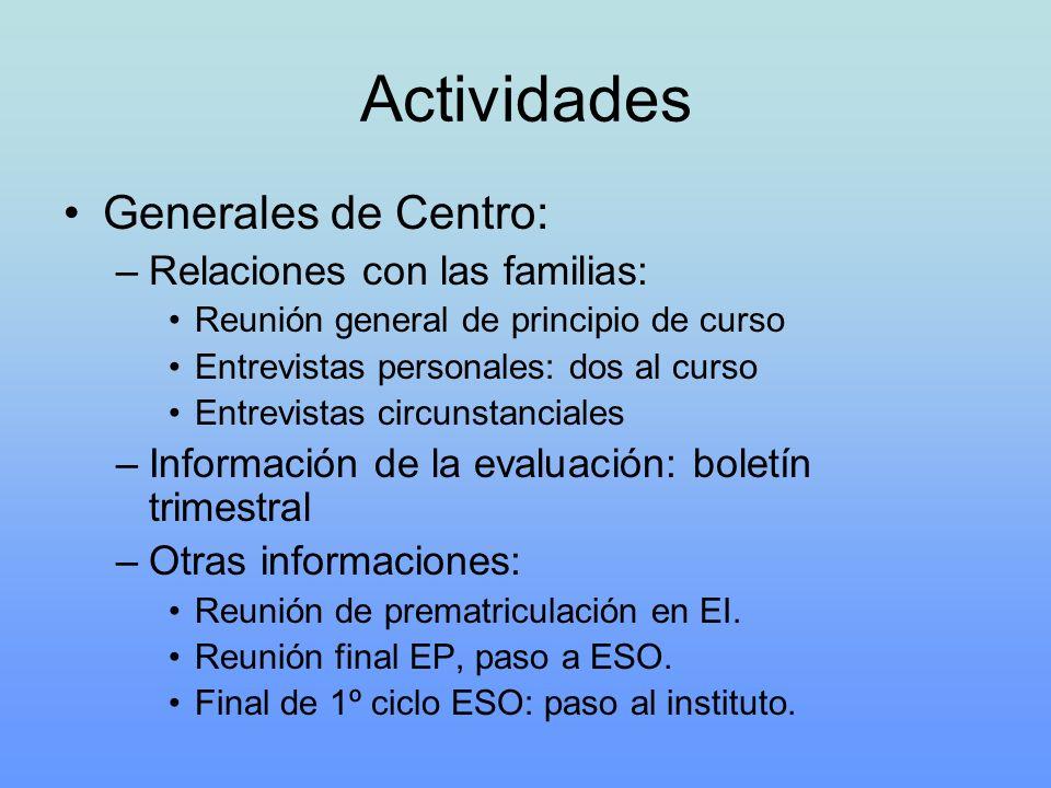 Actividades Generales de Centro: –Relaciones con las familias: Reunión general de principio de curso Entrevistas personales: dos al curso Entrevistas