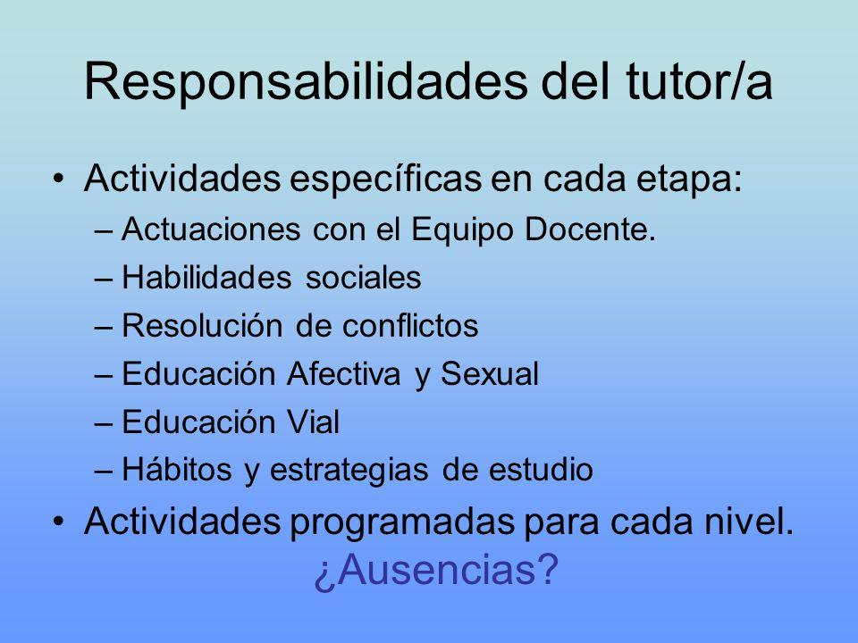 Responsabilidades del tutor/a Actividades específicas en cada etapa: –Actuaciones con el Equipo Docente. –Habilidades sociales –Resolución de conflict