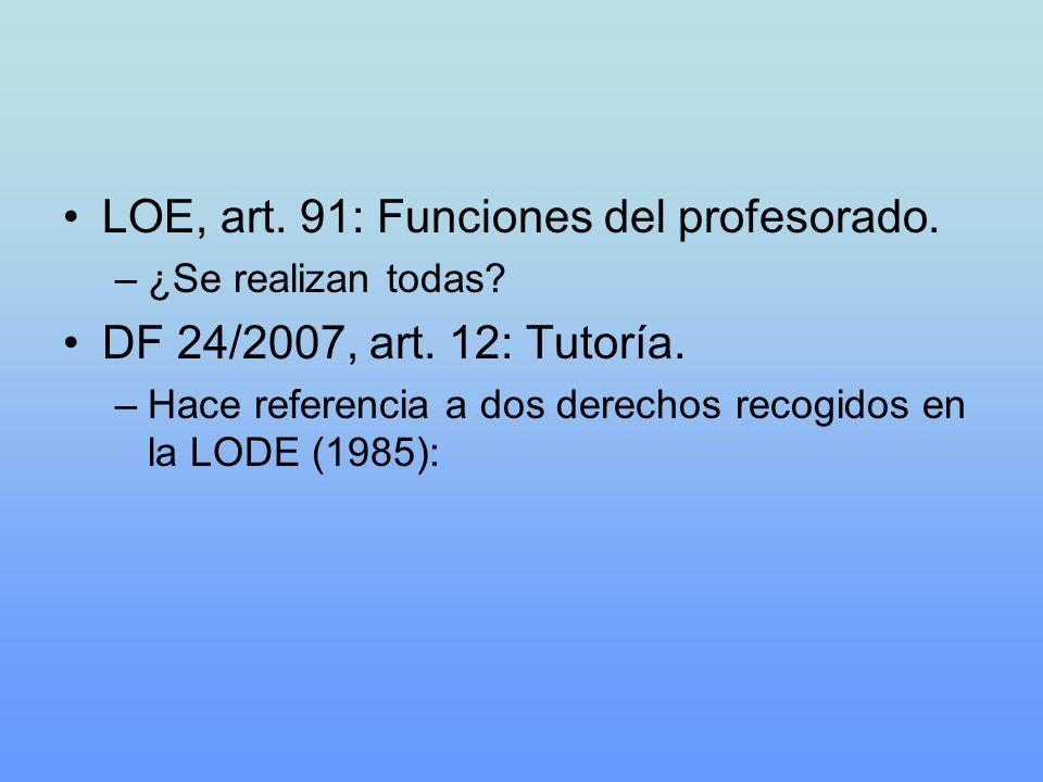 LOE, art. 91: Funciones del profesorado. –¿Se realizan todas? DF 24/2007, art. 12: Tutoría. –Hace referencia a dos derechos recogidos en la LODE (1985