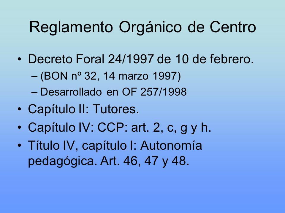Reglamento Orgánico de Centro Decreto Foral 24/1997 de 10 de febrero. –(BON nº 32, 14 marzo 1997) –Desarrollado en OF 257/1998 Capítulo II: Tutores. C
