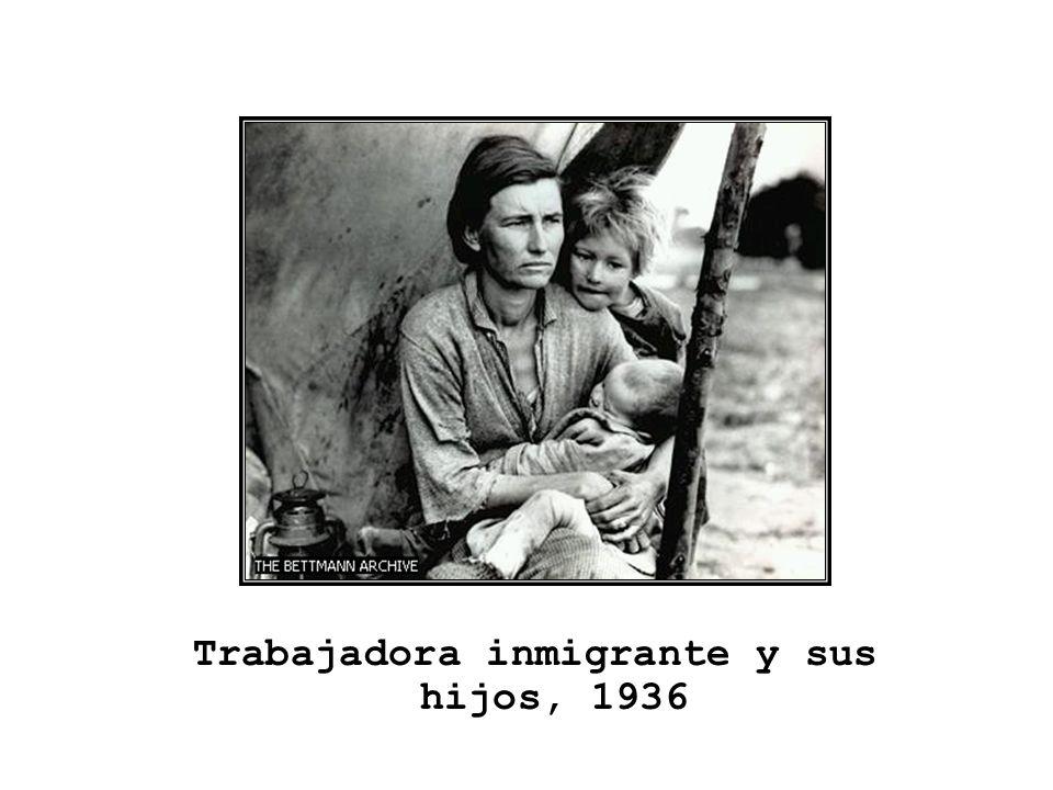 Trabajadora inmigrante y sus hijos, 1936