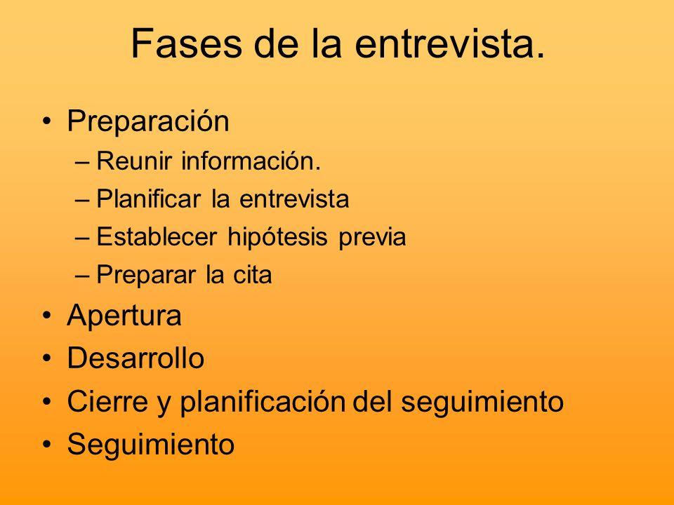 Fases de la entrevista. Preparación –Reunir información. –Planificar la entrevista –Establecer hipótesis previa –Preparar la cita Apertura Desarrollo
