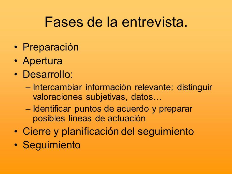 Fases de la entrevista. Preparación Apertura Desarrollo: –Intercambiar información relevante: distinguir valoraciones subjetivas, datos… –Identificar