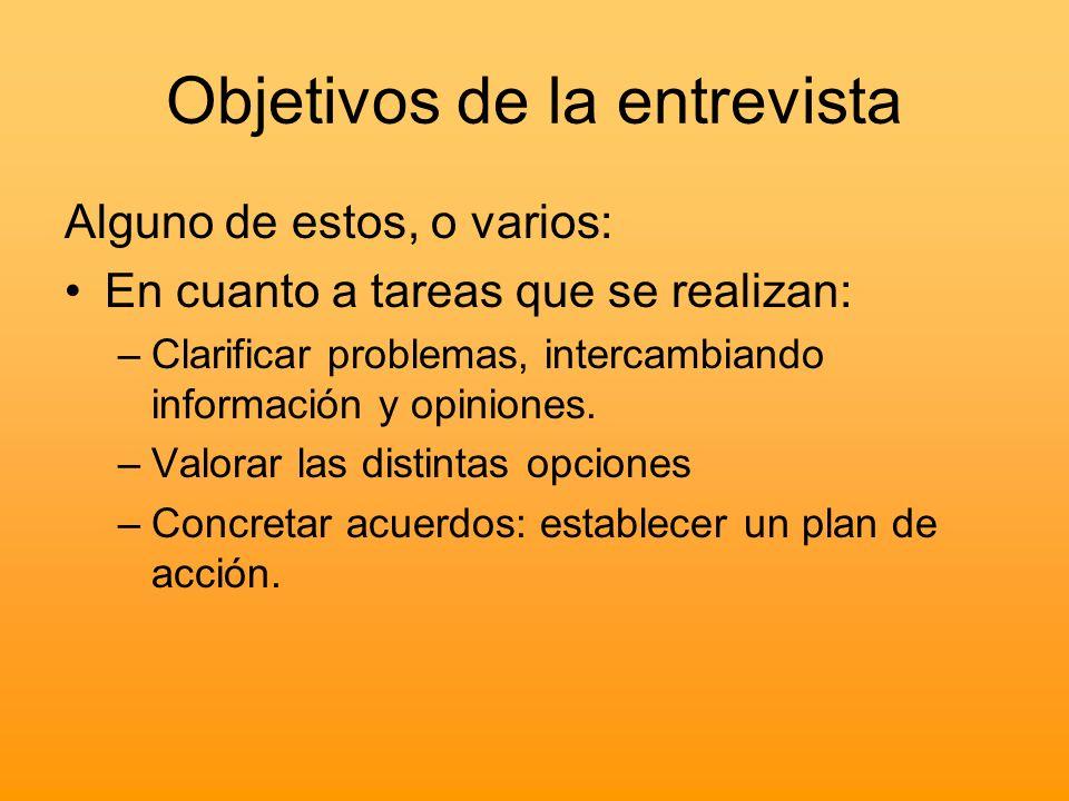 Objetivos de la entrevista Alguno de estos, o varios: En cuanto a tareas que se realizan: –Clarificar problemas, intercambiando información y opinione
