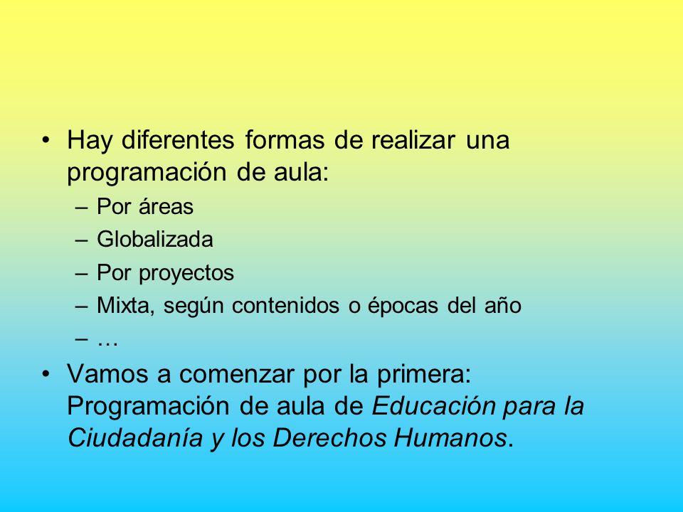 Hay diferentes formas de realizar una programación de aula: –Por áreas –Globalizada –Por proyectos –Mixta, según contenidos o épocas del año –… Vamos